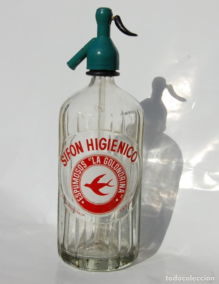 SIFÓN SIFÓN ESPUMOSOS LA GOLONDRINA MADRID (Coleccionismo - Otras Botellas y Bebidas )