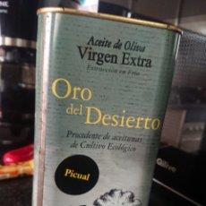 Coleccionismo Otros Botellas y Bebidas: 1 LITRO LATA DE ACEITE DE OLIVA EXTRA VIRGEN PRECINTADA ORO DEL DESIERTO LEER DESCRIPCIÓN. Lote 143876014