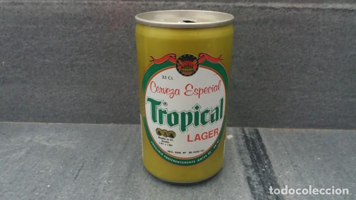 LATA ANTIGUA DE CERVEZA TROPICAL DEL AÑO 1986 ISLAS PALMAS GRAN CANARIAS (Coleccionismo - Otras Botellas y Bebidas )