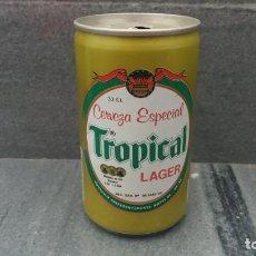 Coleccionismo Otros Botellas y Bebidas: LATA ANTIGUA DE CERVEZA TROPICAL DEL AÑO 1986 ISLAS PALMAS GRAN CANARIAS . Lote 143995138