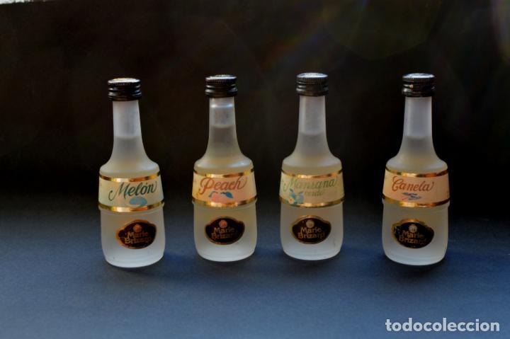 Coleccionismo Otros Botellas y Bebidas: BOTELLINES MINIATURA DE MARIE BRIZARD DE MANZANA, MELON, PEACH Y CANELA, CON SELLO - Foto 3 - 146059886
