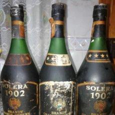Coleccionismo Otros Botellas y Bebidas: LOTE DE 3 BOTELLAS DE BRANDY GRANDE RESERVA SOLERA 1902. Lote 149236642