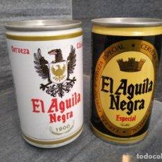 Coleccionismo Otros Botellas y Bebidas: LATAS ANTIGUAS DE CERVEZA EL AGUILA NEGRA ASTURIAS COLLOTO. Lote 149596002