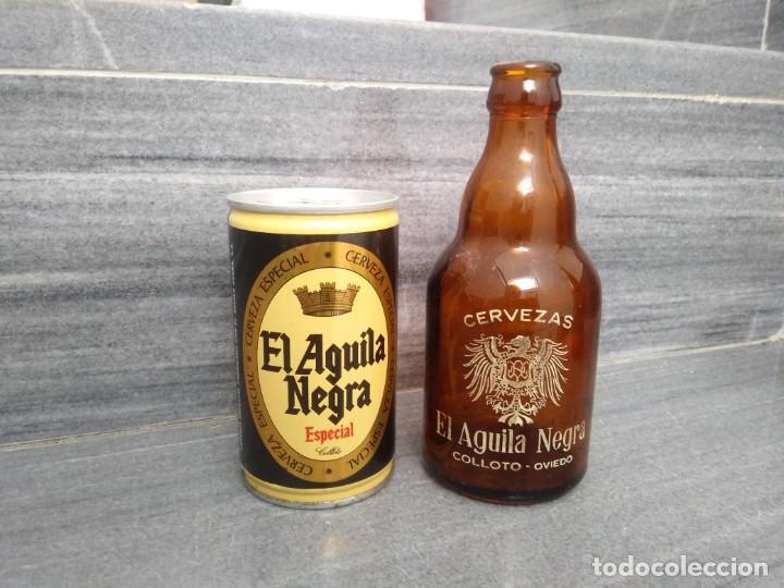LATA ACERO Y BOTELLA ANTIGUA EL AGUILA NEGRA COLLOTO OVIEDO DE CERVEZA (Coleccionismo - Otras Botellas y Bebidas )