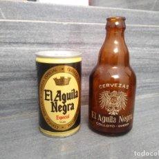 Coleccionismo Otros Botellas y Bebidas: LATA ACERO Y BOTELLA ANTIGUA EL AGUILA NEGRA COLLOTO OVIEDO DE CERVEZA . Lote 153455542