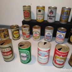 Coleccionismo Otros Botellas y Bebidas: COLECCION DE LATAS DE BEBIDA VINTAGE ANTIGUAS DE CERVEZA DE LOS AÑOS 70 DIFERENTES BUEN ESTADO. Lote 156839814