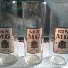 Coleccionismo Otros Botellas y Bebidas: LOTE DE 3 VASOS GIN MG ANTIGUOS . Lote 159807382