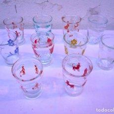 Coleccionismo Otros Botellas y Bebidas: VASO NOGUEROLES. LOTE DE 10. VARIOS MOTIVOS. MARCADOS EN LA BASE. Lote 163995942