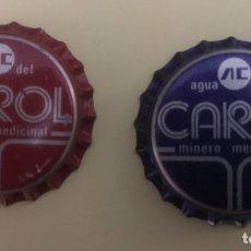 Coleccionismo Otros Botellas y Bebidas: ANTIGUO TAPON CORONA CHAPA PUBLICIDAD AGUA DEL CAROL DOS MODELOS DIFERENTES Y RAROS. Lote 200113155