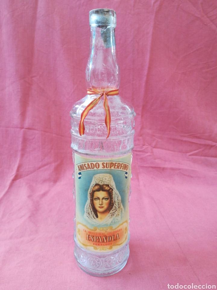 BOTELLA ANIS LA INDUSTRIAL LICORERA ESPAÑOLA - ZARAGOZA - CON SU ETIQUETA (Coleccionismo - Otras Botellas y Bebidas )
