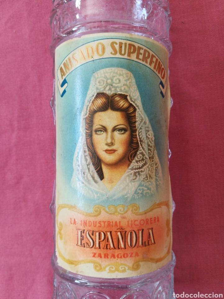 Coleccionismo Otros Botellas y Bebidas: BOTELLA ANIS LA INDUSTRIAL LICORERA ESPAÑOLA - ZARAGOZA - CON SU ETIQUETA - Foto 2 - 167510412