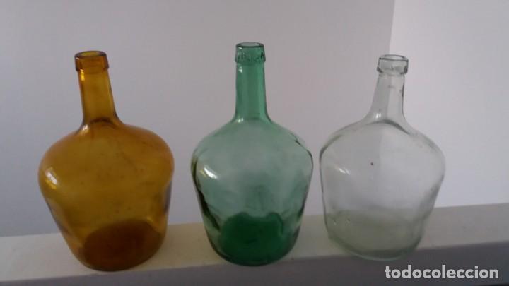 ANTIGUAS DAMAJUANA GARRAFAS PEQUEÑAS CRISTAL MARRÓN VERDE Y TRANSPARENTE BOTELLAS DE 2 LITROS (Coleccionismo - Otras Botellas y Bebidas )