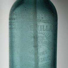 Coleccionismo Otros Botellas y Bebidas: SIFÓN AZUL LA UNIÓN INDUSTRIAL SEVILLA // MUY ANTIGUO. Lote 168569400