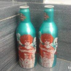 Coleccionismo Otros Botellas y Bebidas: BOTELLAS ALUMINIO DE CERVEZA ESTRELLA DAMM CUSTO BARCELONA CON PEQUEÑA DIFERENCIA DE COLOR. Lote 170091004
