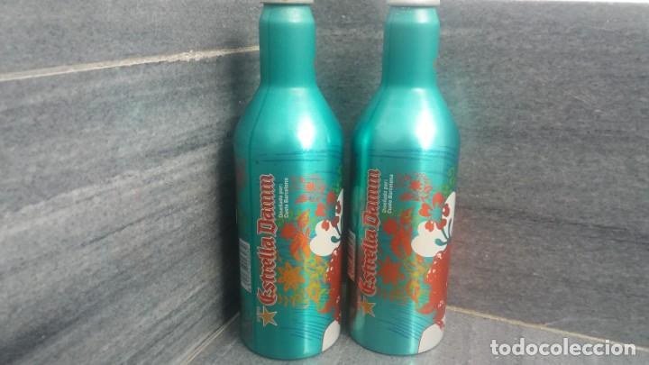Coleccionismo Otros Botellas y Bebidas: Botellas aluminio de cerveza ESTRELLA DAMM CUSTO barcelona con pequeña diferencia de color - Foto 2 - 170091004