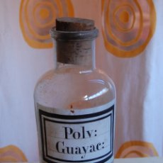 Coleccionismo Otros Botellas y Bebidas: FRASCO DE FARMACIA POLV. GUAYACOL VIDRIO SOPLADO ETIQUETA SERIGRAFIADA. Lote 171058410