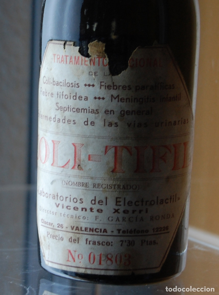 Coleccionismo Otros Botellas y Bebidas: BOTELLA FRASCO DE FARMACIA COLI TIFIL LABORATORIO ELECTROLACTIL VICENTE XERRI VALENCIA - Foto 3 - 171175995