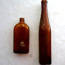 Coleccionismo Otros Botellas y Bebidas: 2 BOTELLAS DE VIDRIO – AMBAR – ANTIGUAS. Lote 171180333