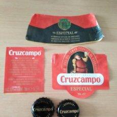 Coleccionismo Otros Botellas y Bebidas: 4 CHAPAS LATILLAS MAS 3 ETIQUETAS ESPECIAL CERVEZA CRUZCAMPO. Lote 173971418