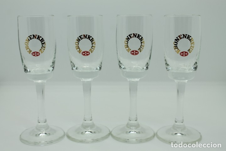 4 COPITAS KRONENKREUZ AQUAVIT ALEMANIA CUP CHUPITOS AKVAVIT GERMANY (Coleccionismo - Otras Botellas y Bebidas )