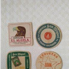 Coleccionismo Otros Botellas y Bebidas: LOTE 4 POSAVASOS. 2 SAN MIGUEL 1 DAMM Y 1 EL AGUILA. USADOS.. Lote 176492578