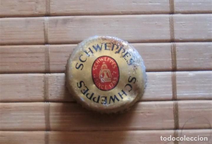 TAPÓN DE ROSCA METÁLICO SCHWEPPES, AÑOS 80 MÁLAGA (Coleccionismo - Otras Botellas y Bebidas )