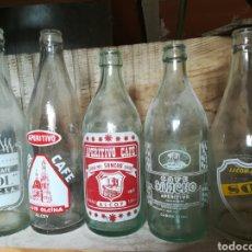 Coleccionismo Otros Botellas y Bebidas: LOTE 9 BOTELLAS CRISTAL ANTIGUAS CAFÉ LICOR ALCOY. Lote 184315453