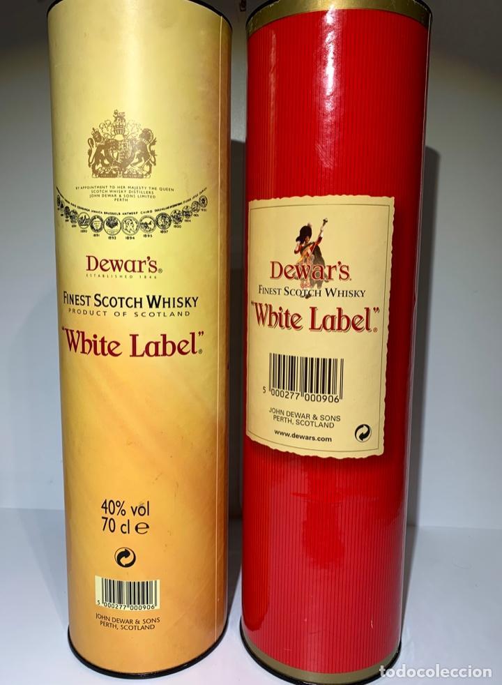 Coleccionismo Otros Botellas y Bebidas: 2 Latas Estuches White Label Dewar's Finest Scotch Whisky - Foto 2 - 187499873