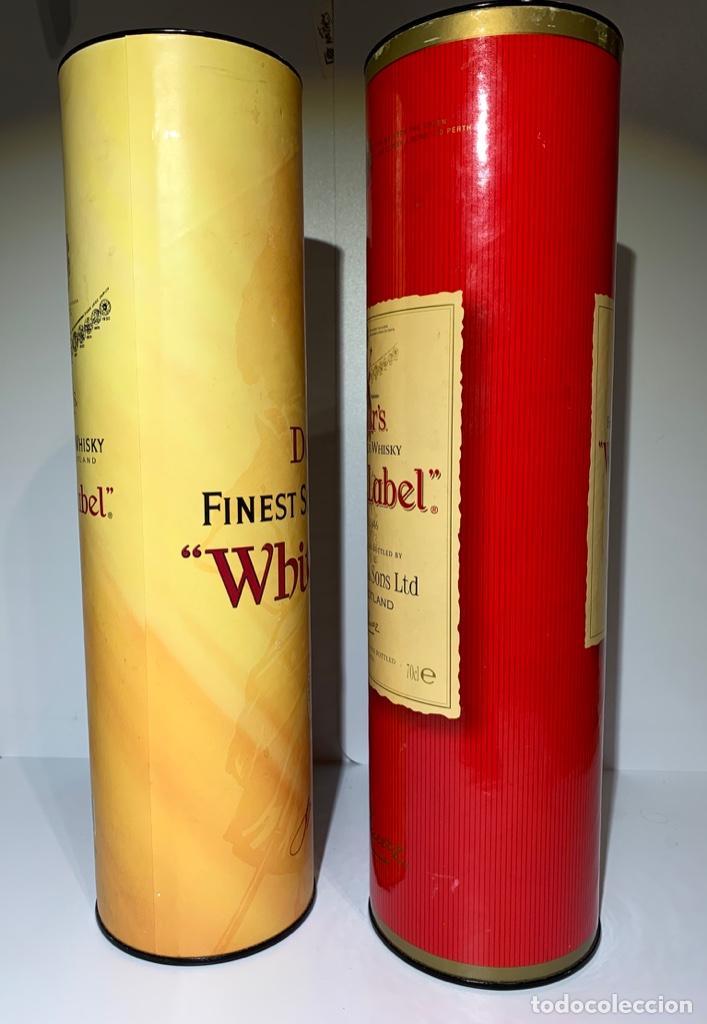 Coleccionismo Otros Botellas y Bebidas: 2 Latas Estuches White Label Dewar's Finest Scotch Whisky - Foto 3 - 187499873
