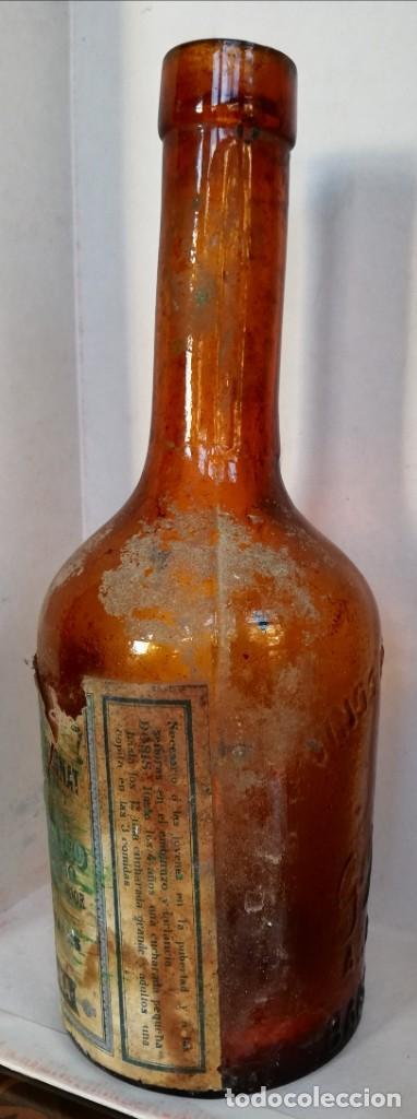 Coleccionismo Otros Botellas y Bebidas: BOTELLA DE VINOS MEDICINALES GIMBERNAT GRABADA con etiqueta - BARCELONA - CUELLO INCLINADO - Foto 3 - 187523542