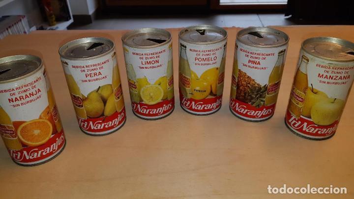 LOTE DE 6 LATAS DE TRINARANJUS DE ACERO DE NARANJA,LIMÓN,POMELO,PIÑA,PERA Y MANZANA-MUY RARAS (Coleccionismo - Otras Botellas y Bebidas )