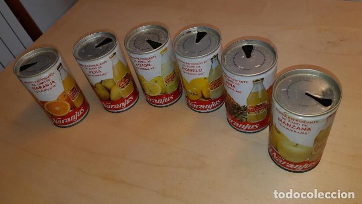 Coleccionismo Otros Botellas y Bebidas: LOTE DE 6 LATAS DE TRINARANJUS DE ACERO DE NARANJA,LIMÓN,POMELO,PIÑA,PERA Y MANZANA-MUY RARAS - Foto 2 - 190533038