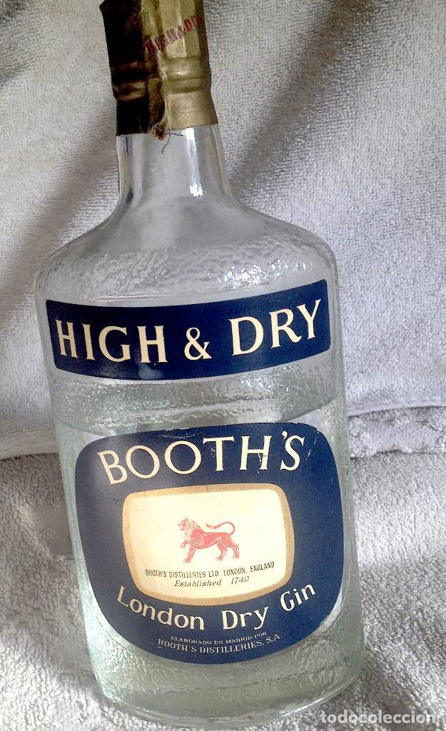 BOTELLA GINEBRA BOOTH'S SIN ABRIR. AÑOS 60. IMPORTADA. FALTA DEL LEONCITO DE PLÁSTICO. (Coleccionismo - Otras Botellas y Bebidas )