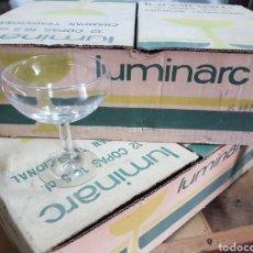 Coleccionismo Otros Botellas y Bebidas: 2 CAJAS DE 12 COPAS CHAMPÁN LUMINARC 16.5 CL SIN USO. Lote 191063081