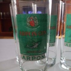 Coleccionismo Otros Botellas y Bebidas: VASOS GINEBRA ARPON. 6 VASOS GIN ARPON BARCELONA. Lote 191176151