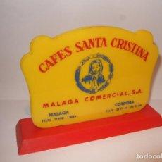 Coleccionismo Otros Botellas y Bebidas: SERVILLETERO DE PLASTICO - CAFES SANTA CRISTINA - MALAGA COMERCIAL - MALAGA Y CORDOBA - 15X10X4 . Lote 192710608