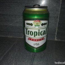 Coleccionismo Otros Botellas y Bebidas: LATA DE CERVEZA BIER BIRRA BEER TROPICAL ISLAS CANARIAS CERCASA 75 ANIVERSARIO ESPAÑA. Lote 193630320