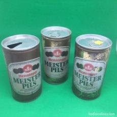 Coleccionismo Otros Botellas y Bebidas: LOTE DE LATAS DE CERVEZA HENNINGER MEISTER PILS - ALEMANIA /CAN BEER -GERMANY . Lote 194513810