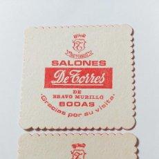 Coleccionismo Otros Botellas y Bebidas: POSAVASOS SALONES DE TORRES DE MADRID - 2 UNIDADES. Lote 194599886