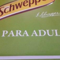 Coleccionismo Otros Botellas y Bebidas: SCHWEPPES SOLO PARA ADULTOS - CARTEL CHAPA - TU LIMÓN DE SIEMPRE -. Lote 194898563