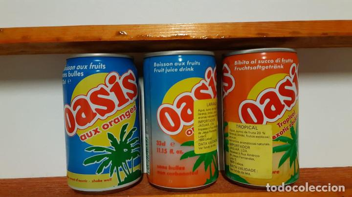 Coleccionismo Otros Botellas y Bebidas: LOTE DE 3 LATAS DE REFRESCO OASIS - FRANCIA AÑOS 80 - Foto 2 - 196294282