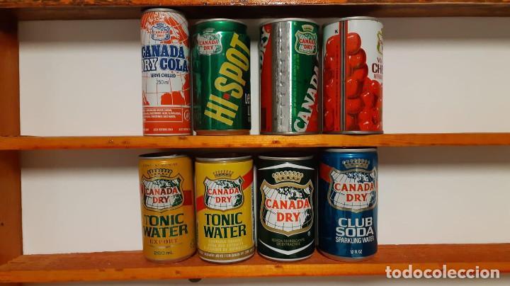 LOTE DE 8 LATAS DE REFRESCO CANA DRY - ESTADOS UNIDOS - AÑOS 80 (Coleccionismo - Otras Botellas y Bebidas )