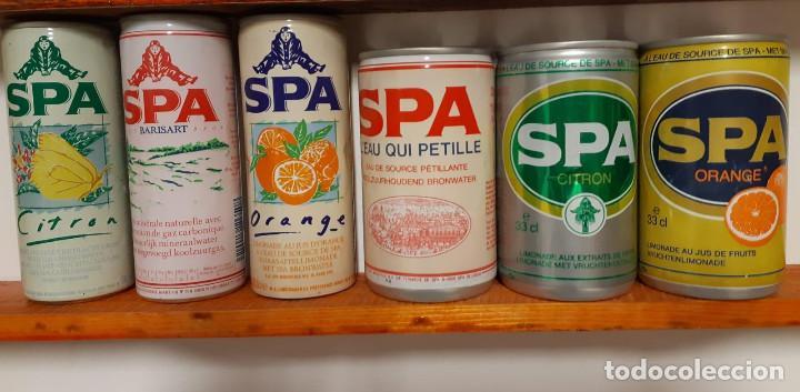 LOTE DE 6 LATAS DE REFRESCO SPA - BÉLGICA - AÑOS 80 (Coleccionismo - Otras Botellas y Bebidas )