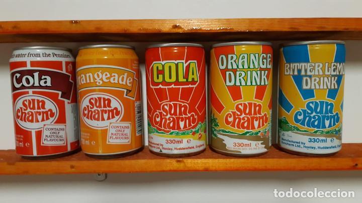 LOTE DE 5 LATAS DE REFRESCO SUN CHARM - INGLATERRA - AÑOS 80 (Coleccionismo - Otras Botellas y Bebidas )