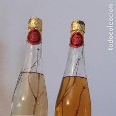Coleccionismo Otros Botellas y Bebidas: LOTE DE 2 BOTELLAS ANTIGUAS DE ANIS Y COÑAC ESCARCHADO DESTILERIAS LLADO ARENYS DE MUNT. Lote 197648822