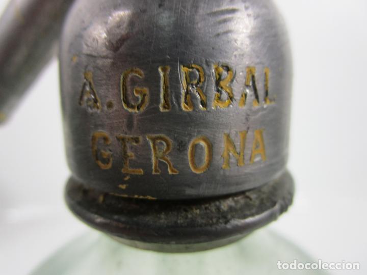 Coleccionismo Otros Botellas y Bebidas: Sifón - Marca La Ideal, A. Girbal, Gerona - Tapón de Plomo - Cristal Serigrafiado - de Colección!!! - Foto 6 - 200732887