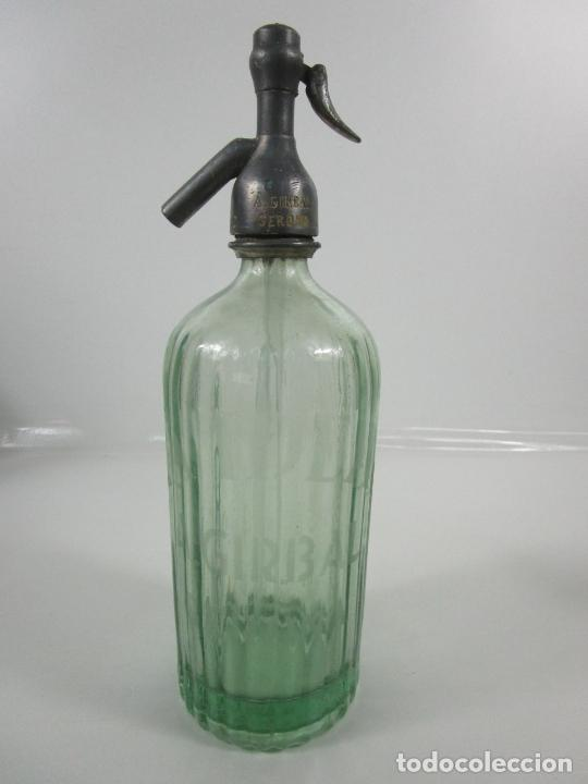 SIFÓN - MARCA LA IDEAL, A. GIRBAL, GERONA - TAPÓN DE PLOMO - CRISTAL SERIGRAFIADO - DE COLECCIÓN!!! (Coleccionismo - Otras Botellas y Bebidas )