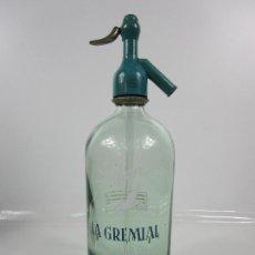 Coleccionismo Otros Botellas y Bebidas: SIFÓN - MARCA LA GREMIAL - JOSÉ OLLER PAGÉS, GERONA - TAPÓN DE PLOMO - CRISTAL SERIGRAFIADO - AÑO 55. Lote 200734142