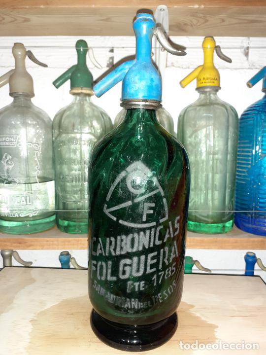 SIFÓN CARBÓNICAS FOLGUERA SAN ADRIÁ DEL BESÓS (Coleccionismo - Otras Botellas y Bebidas )