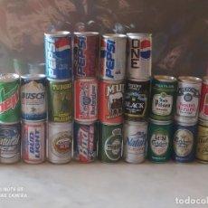 Coleccionismo Otros Botellas y Bebidas: 24 MINIATURAS LATAS CERVEZAS Y REFRESCOS. Lote 205819403